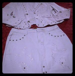 Two-piece white denim suit